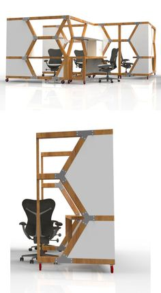 The HIVEs feature a worksurface, storage, built-in LED lighting and customizable panels. Designed for flexible-use spaces, the units are up on wheels to make them easy to move around on the fly. Sixty percent of each unit is built from reclaimed materials, and 95% is recycled and/or recyclable.