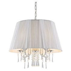 """Bring chic style to your living room, dining room, or foyer with this elegant pendant, showcasing a ruched shade and beautiful crystal drops.    Product: PendantConstruction Material: Steel, glass, fabric and crystalColor: SilverFeatures: Glass beads and crystal drops reflect the light and add sparkleAccommodates: (5) 60 Watt incandescent type B bulbs - not includedDimensions: 20.5"""" H x 20.75"""" Diameter"""