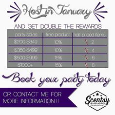 Host with me and earn double rewards in January 2016 #scentsy #rewards #hostess…