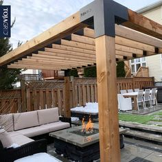Pergola Kit for Wood Posts with KNECT Top Rafter Brackets - This sturdy build from the Hardscape Ottawa team really makes a strong and inviting statement, mood - Pergola Diy, Outdoor Pergola, Pergola Shade, Outdoor Decor, Modern Pergola, Covered Pergola Patio, Timber Pergola, Retractable Pergola, Deck With Pergola