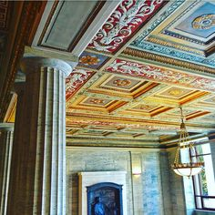 The coffered ceiling in Angel Hall.