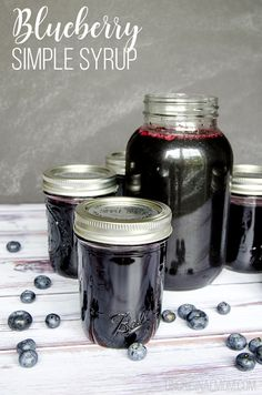 Blueberry Simple Syrup - Recipe and Drink Ideas - unOriginal Mom - Blueberry simple syrup – so easy to make, and a delicious way to make all kinds of summery drinks - Blueberry Drinks, Blueberry Cocktail, Blueberry Juice, Blueberry Recipes, Blueberry Syrup Recipe For Canning, Jelly Recipes, Jam Recipes, Canning Recipes, Canning Labels