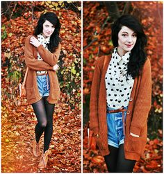 Burnt Orange Cardigan, Heart Print Button Up, Jean Shorts over Black Tights.