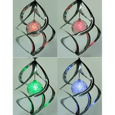 Hotest Color Changing Solar Powered Garden Light Outdoor Courtyard  LED Wind Spinner Hanging Spiral Lamp