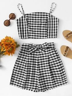 Zip Up Back Plaid Cami With ShortsFor Women-romwe Cute Lazy Outfits, Crop Top Outfits, Skirt Outfits, Pretty Outfits, Stylish Outfits, Girls Fashion Clothes, Teen Fashion Outfits, Outfits For Teens, Girl Fashion