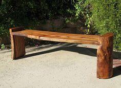Banco lateral tronco de madeira rústica - Loja de Móveis de Madeira Maciça. Moveis Rusticos