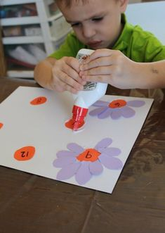 one-to-one correspondence gluing petals - idea: draw up different templates w/ different #s for differentiation