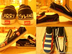 my LARRY STYLINSON SHOES! <3 (YES, i hand painted these myself, so NO COPYING!!!) One Direction, 1D Harry Styles, Niall Horan, Liam Payne, Zayn Malik, Louis Tomlinson, Hazza, Harreh, Nialler, Lou, Tommo bromance .xx