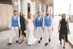 Aoife & Enda's Italian Job!! 🇮🇹  Pictured are Newly weds Aoife & Enda Mc Tiernan who tied the knot in the beautiful surroundings of Santa Maria di Castellabate, Italy, Earlier this summer. 🇮🇹  Ted Baker, Farah & Remus Uomo were the couples brand choice for these bright mix & match groomsmen outfits. Groomsmen Outfits, Tie The Knots, Santa Maria, Mix Match, Newlyweds, Ted Baker, Wedding Day, Product Description, Italy