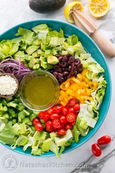 Greek Salad with Zesty Lemon Dressing. Easy, healthy, fresh and delicious. I could eat this all day and not get tired of it. @NatashasKitchen