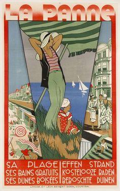 Vintage Travel Poster - La Panne - Belgique/Belgium.
