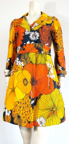 Vintage MICHAEL NOVARESE Floral print silk coat dress image 2