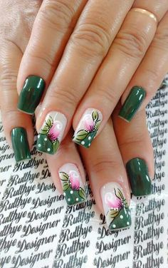 Different nail by Rutthye designer. Unghie different di Rutthye designer. Flower Nail Designs, Diy Nail Designs, Flower Nail Art, Nail Polish Designs, Acrylic Nail Designs, Acrylic Nails, Diy Nails, Swag Nails, Cute Nails