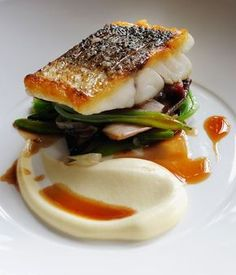 Escalope of wild sea bass with sautéed smoked bacon, red chicory, runner beans . Escalope of wild sea bass with sautéed smoked bacon, red chicory, runner beans and red wine sauce Fish Recipes, Seafood Recipes, Gourmet Recipes, Cooking Recipes, Pork Belly Recipes, Gourmet Foods, Bacon Recipes, Great British Chefs, Think Food