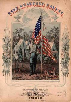 """""""The Star-Spangled Banner"""" is the national anthem of the United States of America. The lyrics come from """"Defence of Fort M'Henry"""", a poem written in American Civil War, American Flag, American History, American Pride, Early American, Doodle, War Of 1812, Star Spangled Banner, Vintage Sheet Music"""