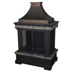 allen   roth�Black and Bronze with Slate Design Composite Outdoor Wood-Burning Fireplace