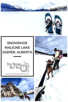 Maligne Lake Jasper Alberta Snowshoe - Stop Nothing But Time Alberta National Parks, Banff National Park, Canadian Winter, Canadian Rockies, Jasper Alberta, Alberta Canada, Canada Destinations, Visit Canada, Best Hikes