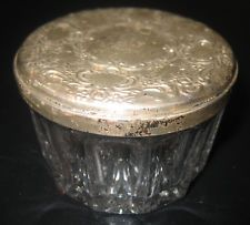 Antique Towle Sterling Silver Mirror Compact Covered Crystal Vanity Jar No Scrap