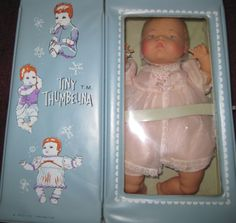 1960-039-s-Ideal-Tiny-Thumbelina-Doll-OTT-14-w-Case-Vintage-clothes-amp-Accessories