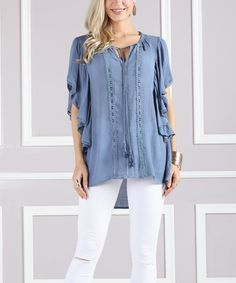Take a look at this Suzanne Betro Blue Lace-Trim Flutter-Sleeve Tunic - Plus Too today!