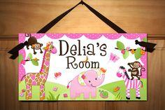 Pretty Pink Girly Jungle Animals Girls Bedroom Baby Nursery Kids Bedroom DOOR SIGN Wall Art. $14.00, via Etsy.