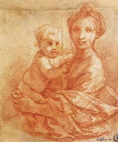 Raffaello Santi, Disegno di Madonna e Bambino, sanguigna e lumeggiature su carta, Musée du Louvre (Parigi).