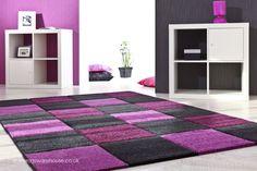Bordeaux Purple Rug, a purple & black modern rug (100% advanced soft polyprop) http://www.therugswarehouse.co.uk/purple-rugs/bordeaux-purple-rug.html #rugs #interiors