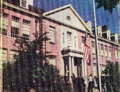 1953 image of Montgomery Blair High School entrance - my dad's high school