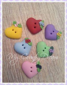 """Handmade Buttons """"Heart"""" - polymer clay buttons - set of 6 pcs."""