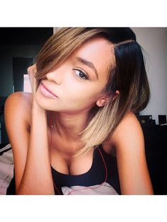 Jourdan Dunn's ombre bob hairstyle and natural makeup   allure.com