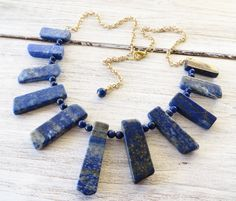Lapis lazuli necklace, spike necklace, blue gemstone necklace, egyptian style necklace, bib necklace, beaded necklace, stone jewelry, bijoux by Sofiasbijoux on Etsy