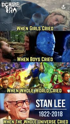 I'd just like to state that I cried when Yondu died, thank you very much. Anyone can cry with these. I love you Stan Lee before I didn't even liked marvel I didn't know. Who was Stan Lee 😭😭 but now I love him and marvel I will miss u Avengers Humor, Marvel Jokes, Marvel Comics, Funny Marvel Memes, Dc Memes, Meme Comics, Memes Humor, Marvel Heroes, Comic Superheroes