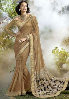 Metallic Beige Lycra Net Saree - Net Sarees - Sarees - Women