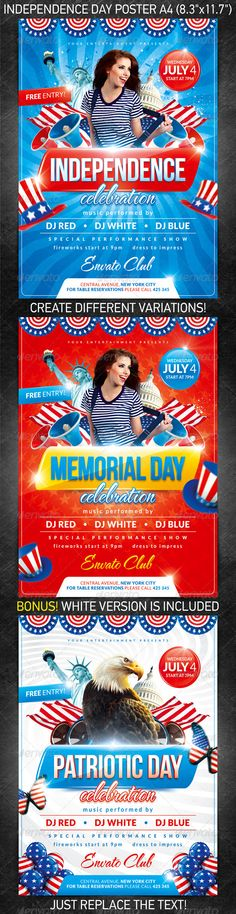 Independence Day Party Poster is perfect for any event that you are organizing that day at your club/bar!  You can download this flyer PSD at the following link –  http://graphicriver.net/item/independence-day-party-poster/2457967?ref=4ustudio     More flyers and posters here: http://graphicriver.net/user/4ustudio?ref=4ustudio   I think, it is pleasant to you!