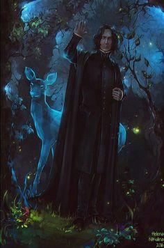 Snape Goodbye - fantasy concept by Helena Nikulina Fanart Harry Potter, Rogue Harry Potter, Blaise Harry Potter, Magia Harry Potter, Wallpaper Harry Potter, Arte Do Harry Potter, Harry Potter Artwork, Harry Potter Drawings, Harry Potter Pictures