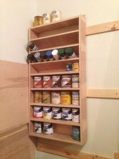 finishing shelf with paints Garage Workshop Organization, Diy Garage Storage, Workshop Storage, Home Organisation, Tool Storage, Storage Ideas, Diy Wood Projects, Woodworking Projects, Woodworking Shop