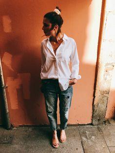 Work wardrobe essentials by Morgane : shirt Ralph Lauren + denim Uniqlo + sandals Marisa Rey #teampotoroze working girl outfit, summer work outfit, looks de oficina, looks para ir al trabajo, tenues professionnelles, tenues bureau, casual outfit