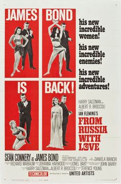 "From Russia with Love (United Artists, 1964). One Sheet (27"" X 41"") Style B.  After the incredible success of Dr. No, producers Albert Broccoli and Harry Saltzman and star Sean Connery immediately went to work on the next James Bond installment. More dazzling women, more unbelievable adventures, and of course, more sinister enemies are in store for the world's most deft, dapper, and devastatingly handsome superspy in From Russia with Love."