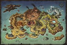 Fantasy World Map, Fantasy Places, Rpg Map, Map Layout, Pictorial Maps, Map Background, Landscape Drawings, Landscapes, Game Concept Art