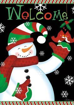 Custom Decor Flag - Welcome Snowman Decorative Flag at Garden House Flags at GardenHouseFlags
