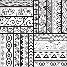 Tribal striped hand drawn seamless pattern  Geometric black-white background  Swatches of seamless pattern included in the file  photo
