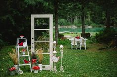 Antique door supported by vintage style iron brackets, very pretty as a backdrop to your wedding draped in florals or... (its the glass pane door in the first pic). $95 Happily Ever After Burlap...