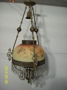 Antique Oil Hanging Lamp Brass 45 Prisms Converted To Electric Reverse Painted Kerosene LampAntique LightingHanging LampsOil LampsLight