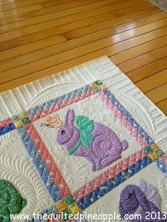 THE QUILTED PINEAPPLE: Grandma's Bunnies quilted by Linda Hrcka