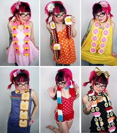 more twinkie chan scarves, love them all but the grapefruit one is my favorite in this pic!