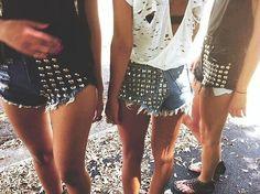 studded shorts.