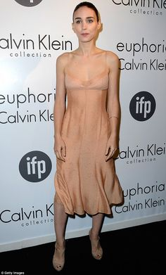 Not nude: Rooney Mara showed off her slender frame in a barely there nude spaghetti strapped gown