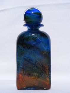 Isle of Wight Studio Glass blue 'Aurene' bottle