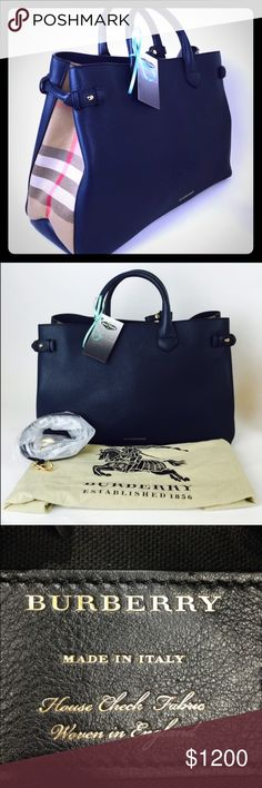 """Burberry """"house check"""" derby large banner tote Ink blue. 100% authentic, barely worn, no major flaws. No strap. Will update more detailed photos when I get home. 👜 Burberry Bags Totes"""