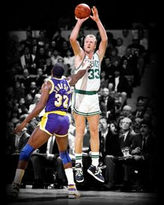 This photo art piece captures the iconic match-up of Larry Bird shooting a jumper over Magic Johnson